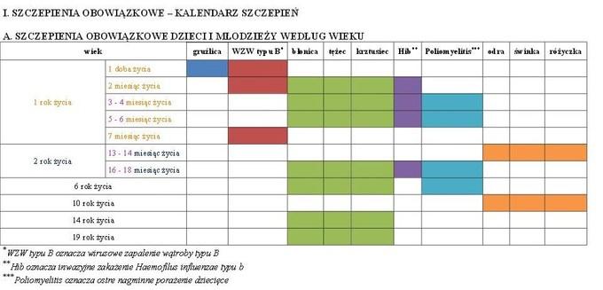 Kalendarz Szczepień 2015 Pierwszy Rok życia Babyboompl